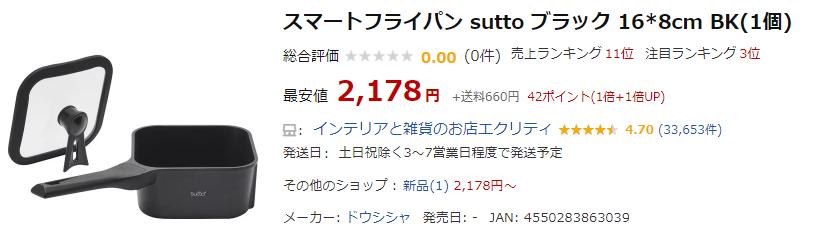 楽天市場でSuttoの販売情報を調べた結果①